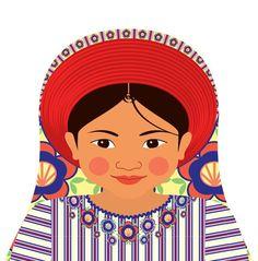 Guatemalan Girl Matryoshka Art Print, Kids Wall Art