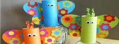 Mariposas para lápices, realizadas con rollos de papel higiénico y decoradas con alitas y ojos