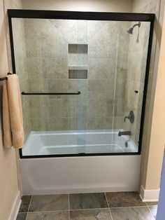 #semiframeless #slider #upgrade #custom #brittandtilson #glass #asheville #wnc #bathroom #remodel #shower