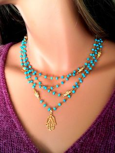 Hamsa Necklace couche Turquoise Collier - Collier en or Hamsa Real Housewives Rosaire juif Evil Eye Kabbale