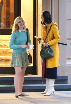 Elle Fanning Shares a Laugh on Set of Woody Allen Movie in NYC: Photo Elle Fanning jokes around with co-star Rebecca Hall on set of their new movie on Thursday (October in New York City. Rebecca Hall, Woody Allen, Old Actress, Elle Fanning, All Smiles, On Set, New Movies, How To Look Pretty, Pop Culture