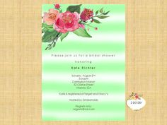 Printable Party Invitation Template  Theme: Mint watercolor stripes and watercolor floral This theme is not event specific - can be used for graduation, baby and bridal showers  What will I receive? 1 MS Word File with two editable cards. Cards are 5X7. No physical item will be mailed to you.  What can I edit? You can add your own words. The design template cannot be changed   How to DIY  1. Purchase this listing and download the template instantly.  2. Open the template in Microsoft Word…