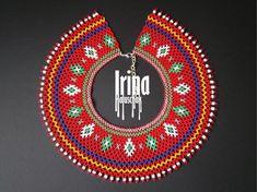 Ukrainian seed bead necklace kryza Lemko krywulka Traditional | Etsy Seed Bead Necklace, Boho Necklace, Beaded Earrings, Seed Beads, Beaded Jewelry, Beaded Necklaces, Hippie Jewelry, Tribal Jewelry, Sashiko Embroidery