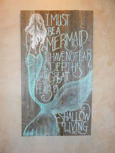 Barnwood Mermaid Sign, Hand Painted, Original, Glittered, Beach This. Mermaid Sign, Mermaid Room, Mermaid Art, Mermaid Quotes, Mermaid Paintings, Mermaid Outline, Black Mermaid, Graffiti, Beach Room
