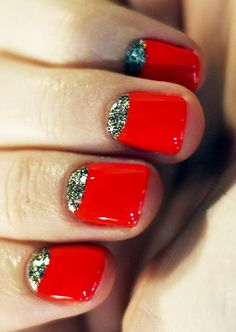 Beautiful bright red nails with a glittered silver half moon design. Get the look with nail polish and more from Duane Reade!