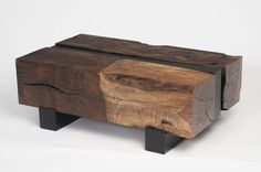 Lulu Coffee Table from Mia Malcolm Studio...love the dichotomy between the old wood and modern simplicity