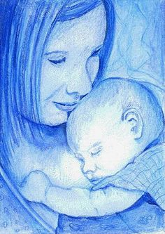 Mother and Baby in Blue Glicee Print by ColorsOfPlay on Etsy