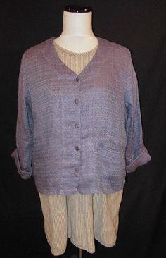 Flax size Small 2pc Set Jacket Top Short Mini Dress Purple Linen Tweed Stripes