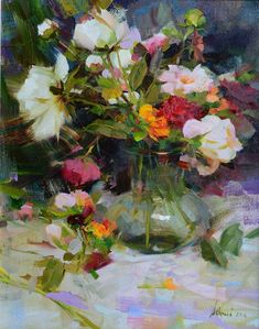 """""""Red Roses & Peonies"""" 20x16 oil ©Richard Schmid 2014 ©This image is under strict copyright to the artist and may not be reproduced in any form"""
