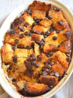 Brioche Chocolate Chip Pudding - Recipes for fun - Bread Chocolate Chip Bread Pudding, Brioche Bread Pudding, Bread Puddings, Choc Chip Brioche Recipe, Pudding Cake, Suet Pudding, Biscuit Pudding, Figgy Pudding, Tapioca Pudding