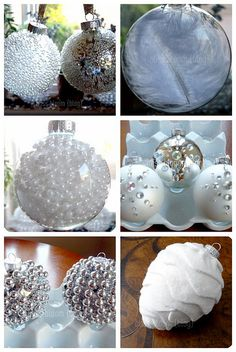 """Christmas tree outside 6 Elegant & Simple Ornament Projects French club """"les alpes"""" festival of trees Christmas Ornaments To Make, Noel Christmas, Homemade Christmas, Christmas Projects, Christmas Tree Decorations, Holiday Crafts, Diy Ornaments, White Ornaments, Beaded Ornaments"""