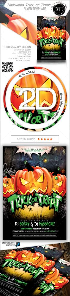 Halloween Trick or Treat Flyer Template PSD #design Download: http://graphicriver.net/item/halloween-trick-or-treat/9121729?ref=ksioks