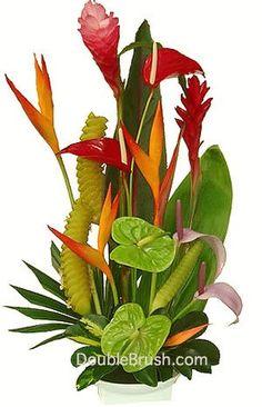 Tropical Flower Arrangement Waipio Wonder Bouquet Shipped From Hawaii To You