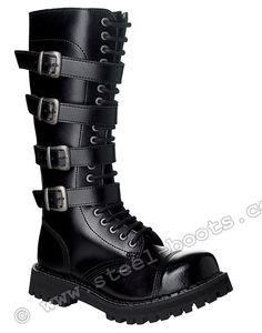 Black with 4 buckles ID#: 00111 Steel toe Screw 20 eyelet boots  86.40 € (96.00 €)