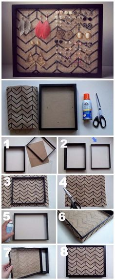 DIY Projects with Burlap and Creative Burlap Crafts for Home Decor, Gifts and More | Burlap Frame Earring Holder | http://diyjoy.com/diy-projects-with-burlap