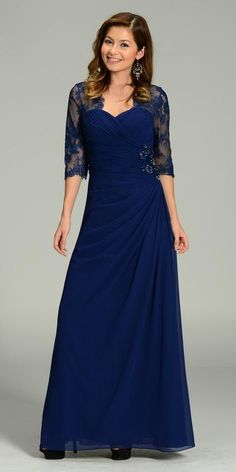 Poly USA 7210 Full length long chiffon and lace dress in navy-blue with ruched bodice and waistline adorned with beads and rhinestones. Back closure shows off eye design. Mother Of The Bride Dresses Long, Mothers Dresses, Long Mothers Dress, Dress Long, Mermaid Prom Dresses Lace, Evening Dresses, Formal Dresses, Wrap Dresses, Lace Dress With Sleeves