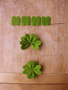 featheredneststudio:    Cute project! You could do these in any color and turn them into pins, too.    DIY Felt 4-Leaf Clover tutorial      Oh, these are adorable and look easy. They'd be great for St. Patrick's day.