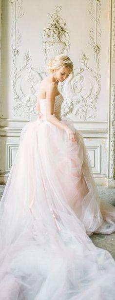 ❤ blush wedding dress by Hayley Paige Parisian Wedding, French Wedding, Dream Wedding, Perfect Wedding, Luxury Wedding, Wedding Designs, Wedding Styles, Bridal Gowns, Wedding Gowns