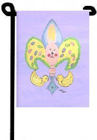 Fleur de Lis Easter Bunny Garden Flag Banner by Caroline's Treasures. $14.50. The Garden size flag is made from a 100% polyester material. Two pieces of material have been sewn together to form a double sided flag. This allows the text and image to be seen the same from both sides. This flag is fade resistant and weather proof. The flag measures approximately 11 inches x 15 inches (garden stand sold separately)