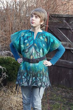Nuno felted turquoise poncho elven robe fairy clothing by filcAlki, $110.00
