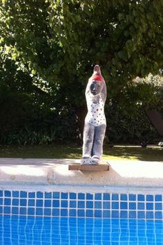 Début juillet, quoi de neuf au jardin ? Une grande première d'abord. Poupette va effectuer son premier plongeon. Après un intense entraînement, elle a décidé de se lancer. Le ciel est bleu et la température de l'eau avoisine les 28°, un dernier effort...