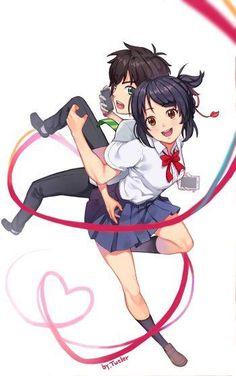 Your Name- Mitsuha and Taki Manga Anime, Anime Couples Manga, Anime Chibi, Film Your Name, Your Name Anime, Kimi No Na Wa Wallpaper, Name Wallpaper, Cute Pupies, Mitsuha And Taki