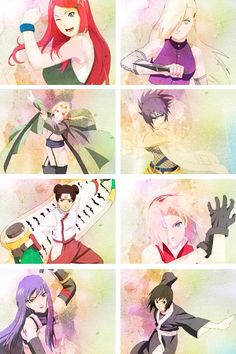 Naruto girls! Personal fav is the bottom purple one, she is so badass!