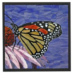 Mosaic butterfly Could be done as fabric butterfly Mosaic Diy, Mosaic Garden, Mosaic Crafts, Mosaic Projects, Stained Glass Projects, Mosaic Glass, Garden Art, Glass Art, Mosaic Bathroom