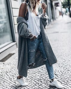 Tank top: le fashion image blogger cardigan white top lace bra black bra grey cardigan ripped jeans