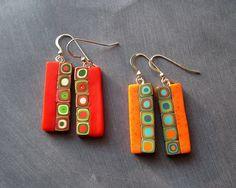Bulls-eye tube mosaic rectangle earrings.