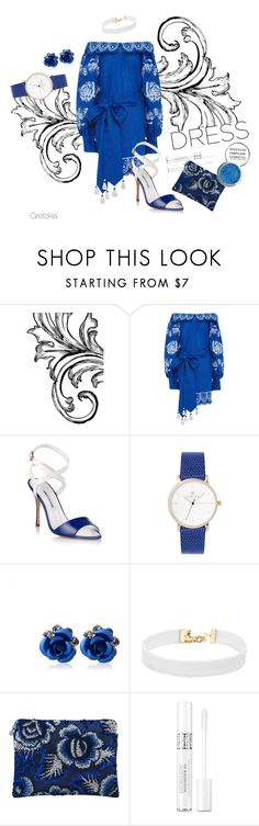 """""""White & Blue"""" by gretokia ❤ liked on Polyvore featuring Yuliya Magdych, Manolo Blahnik, Vanessa Mooney, Forest of Chintz, Christian Dior, Obsessive Compulsive Cosmetics and twotonedress"""