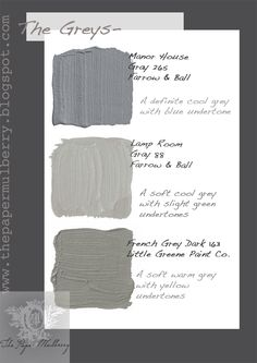 Farrow & Ball Soft grey paint shades - The Paper Mulberry: Exterior Paint Shades - Part 2 Exterior Paint Colors For House, Paint Colors For Home, Exterior Colors, Paint Colours, Blue Colors, Café Exterior, Exterior Shutters, French Exterior, House Shutters