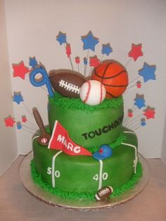 Sports theme birthday cake By norfred on CakeCentral.com