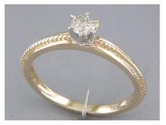 '0.25CT Genuine Diamond Solitaire 14K Gold Ring ' is going up for auction at 12pm Thu, Oct 18 with a starting bid of $500.