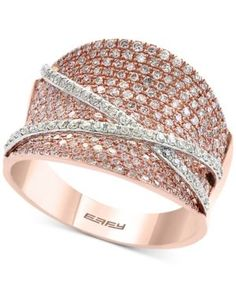 Pave Rose by Effy Diamond Ring (1-1/5 ct. t.w.) in 14k Rose and White Gold - Gold