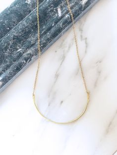 Gold Brass Curve Charm Necklace Hammered Curve Wire Necklace Layering Necklace Half Circle Necklace