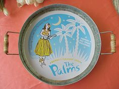 Vintage HAWAIIAN TRAY with HULA Girl