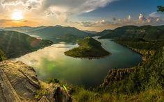 Scarica sfondi rodopi, montagne, turn river, arda fiume, alba, bulgaria