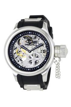 Russian Diver Mechanical Skeleton Dial Black Polyurethane Watch