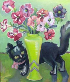 A 1936 Maggie Laubser oil on canvas Cat and Petunias, one of five pieces stolen during a robbery at the Pretoria Art Museum. Watercolor Cat, Watercolor Paintings, All Types Of Cats, Contemporary Decorative Art, Different Forms Of Art, Names Of Artists, Cat Sketch, South African Artists, Naive Art