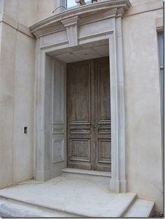 limestone door surround / stained double doors