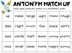 antonym match up freebie
