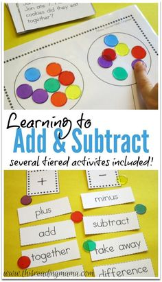 Learning to Add and Subtract {FREE printable} : Learning to Add and Subtract ~ with graphic organizers, number sentence matching, word problems, and math vocabulary sorting Teaching Addition, Math Addition, Addition Games, Simple Addition, Subtraction Activities, Math Activities, Numeracy, Math Classroom, Kindergarten Math