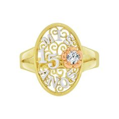 14k Tricolor Gold, Mis 15 Anos Quinceanera Oval Filigree Ring Cubic Zirconia (R122-001)