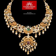 Traditional gold necklaces for women from the house of Kameswari. Shop for antique gold necklace, exquisite diamond necklace and more! Gold Jewelry Simple, Gold Jewellery Design, Necklace Online, Necklace Designs, Bridal Jewelry, Jewelry Collection, Jewels, Necklaces, Gold Necklace