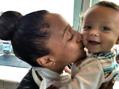 One half of the Mowry twins, Tamera Mowry-Housley and her adorable son Aden Housley. #baby #boy #mother #son #kiss #tamera