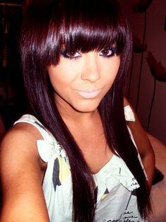dark red violet hair color dark dark hair and a fringe . Love Hair, Great Hair, Gorgeous Hair, Amazing Hair, Violet Hair Colors, How To Cut Bangs, Full Bangs, Thick Bangs, Corte Y Color