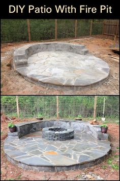 Turn your backyard into an entertainment area by building this patio with fire pit! : Turn your backyard into an entertainment area by building this patio with fire pit! Ponds Backyard, Fire Pit Backyard, Backyard Patio, Backyard Landscaping, Backyard Seating, Florida Landscaping, Landscaping Ideas, Patio Diy, Pergola Diy