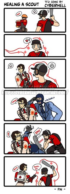 I just want to draw something cute between Medic and Scout, and I came up with this lolz Maybe sometimes it's not so bad to heal a Scout XD Art (c) Cyberhell Medic, Scout, Engineer, Spy (c) TF2, Va...