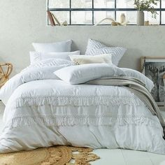 Duckegg Boho Tassel Linen Cotton Quilt Cover Set by Accessorize. Get it now or find more Quilt Cover Sets at Temple & Webster. White Bedding, Linen Bedding, Bedding Sets, Bed Linens, Bed Linen Sets, Bed Sets, Boho Comforters, Boho Pillows, Green Rooms